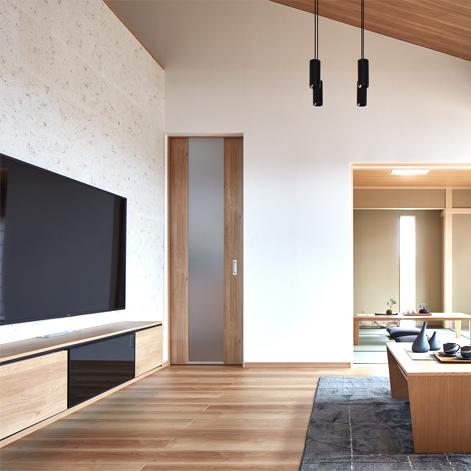 大手住宅メーカー展示場 リビング テレビ裏壁面 石川県金沢市
