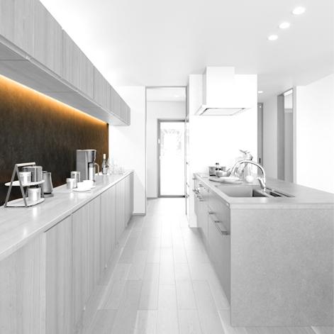 大手住宅メーカー展示場 キッチン カップボード 熊本県八代市